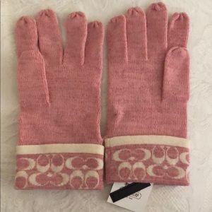 Coach pink gloves